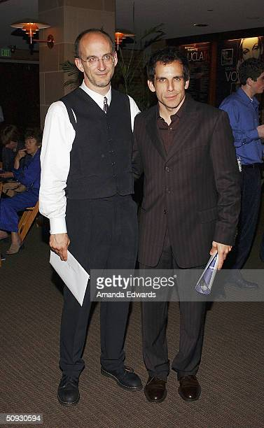 Maestro Timothy Brock poses with actor Ben Stiller at the 15th Anniversary of the Los Angeles Chamber Orchestra's Silent Film Festival on June 5 2004...
