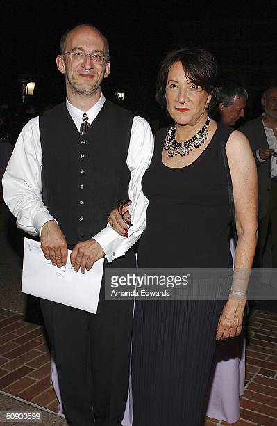 Maestro Timothy Brock poses with Gala CoChairman Hanna Kennedy at the 15th Anniversary of the Los Angeles Chamber Orchestra's Silent Film Festival on...
