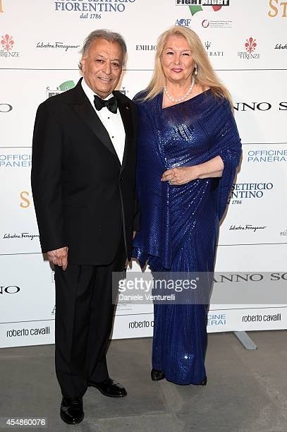 Maestro Zubin Mehta and his wife attend 'Celebrity Fight Night In Italy' Gala at the Palazzo Vecchio on September 7 2014 in Florence Italy