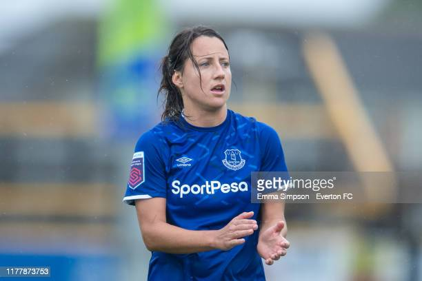Maeva Clémaron of Everton reacts during the Barclays FA Women's Super League match between Everton and Manchester City at Haig Avenue on September 29...