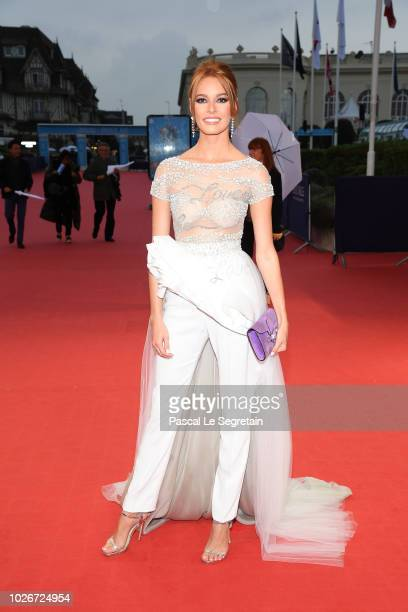 Maeva Coucke attends the The Sister Brothers Les Freres Sisters film premiere on September 4 2018 in Deauville France