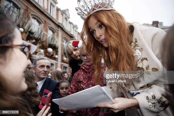 Maeva Coucke Miss France 2018 signs autographs during her visit in her hometown on December 20 2017 in BoulognesurMer France