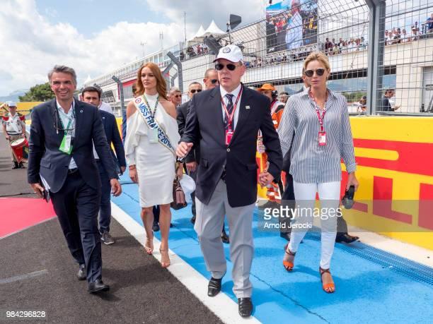 Maeva Coucke Prince Albert Of Monaco and Princess Charlene Of Monaco attend the Formula One Grand Prix of France at Circuit Paul Ricard on June 24...