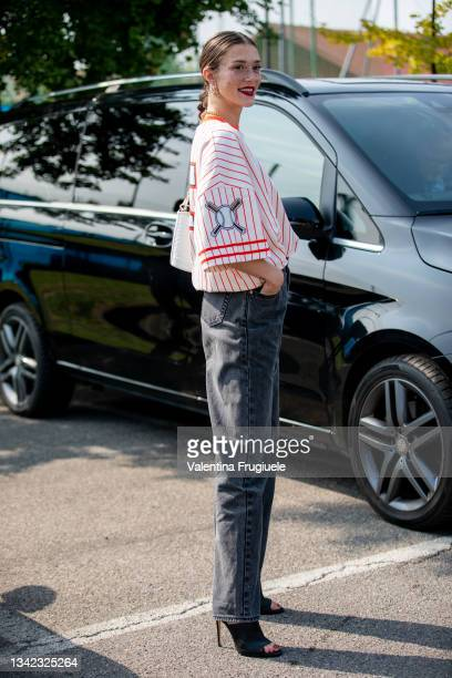 Maeva Giani Marshall outside Boss fashion show during the Milan Fashion Week - Spring / Summer 2022 on September 23, 2022 in Milan, Italy. (Photo by...