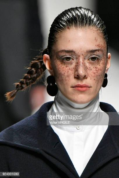 Maeva Giani Marshall walks the runway at the Jil Sander Ready to Wear Fall/Winter 20182019 fashion show during Milan Fashion Week Fall/Winter 2018/19...