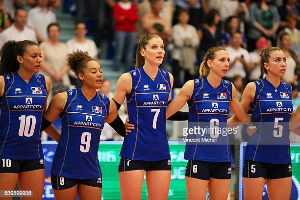 Maeva Orle Elisabeth Fedele Astrid Souply Isaline Sager Weider and Pauline Martin of France during the CEV European League match at Salle Colette...