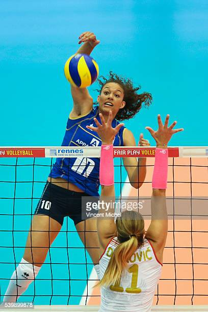 Maeva Orle of France during the CEV European League match at Salle Colette Besson on June 11 2016 in Rennes France