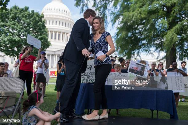 Maeve Kennedy McKean greets Rep Joe Kennedy DMass during a rally on the East Front lawn of the Capitol to condemn the separation and detention of...