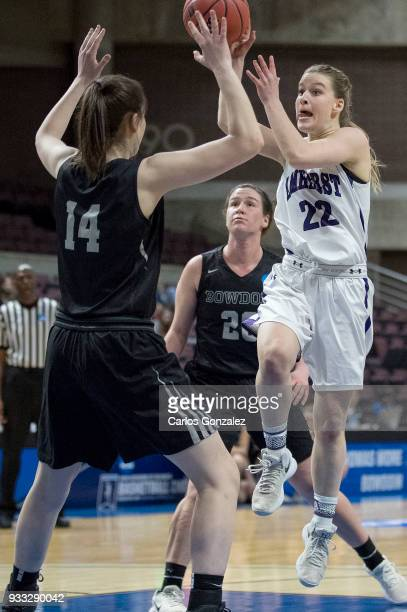Maeve McNamara of Amherst College attempted a shot during the Division III Women's Basketball Championship held at the Mayo Civic Center on March 17...