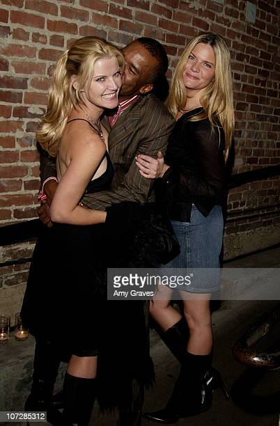 Maeve Quinlan and David Alan Grier with guest during Audrey Apple Productions Anniversary Party at Les Deux Cafe in Los Angeles California United...