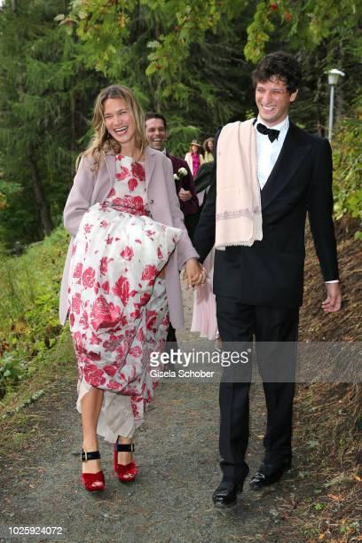 Mafalda Millies and her boyfriend Louis Khahane leave the wedding of Prince Konstantin of Bavaria and Princess Deniz of Bavaria born Kaya at the...