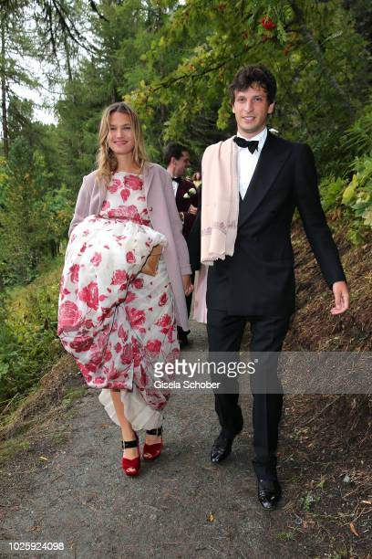 Mafalda Millies and her boyfriend Louis Khahane leave the wedding of Prince Konstantin of Bavaria and Princess Deniz of Bavaria born Kaya at the...