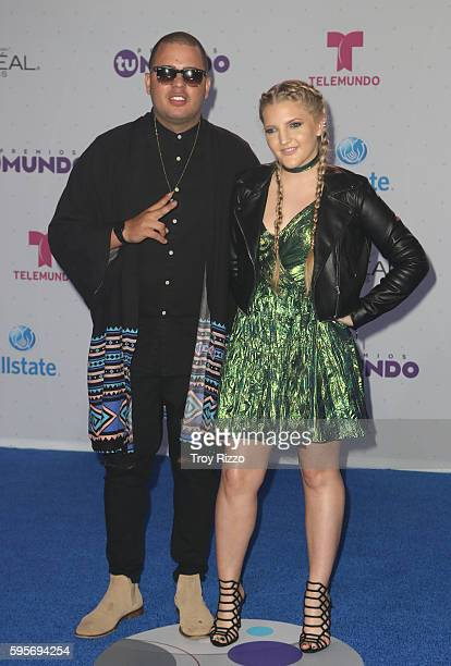 Maffio and K Marie arrive at Telemundo's Premios Tu Mundo 'Your World' Awards at American Airlines Arena on August 25 2016 in Miami Florida