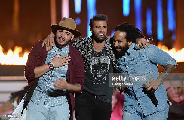 Maffio Jencarlos Canela and KyMani Marley perform onstage at Telemundo's 'Premios Tu Mundo' Awards 2015 at American Airlines Arena on August 20 2015...