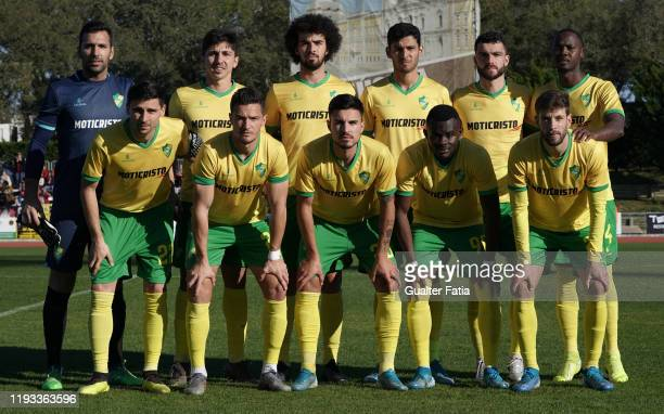 Mafra players pose for a team photo before the start of the Liga Pro match between CD Mafra and UD Vilafranquense at Estadio do Parque Desportivo...