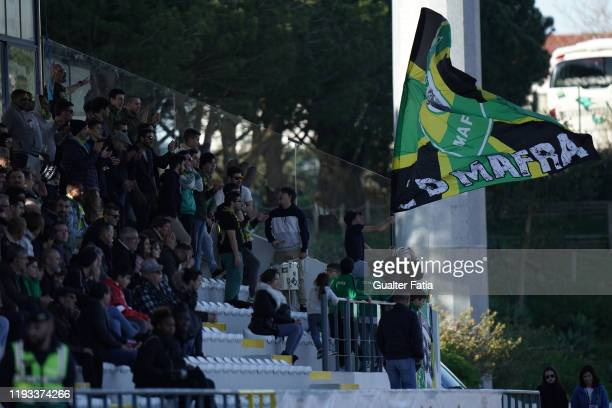 Mafra supporters in action during the Liga Pro match between CD Mafra and UD Vilafranquense at Estadio do Parque Desportivo Municipal de Mafra on...