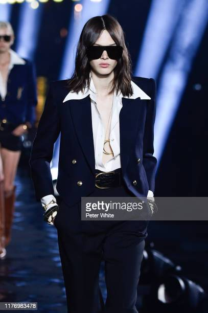 Mag Cysewska walks the runway during the Saint Laurent Womenswear Spring/Summer 2020 show as part of Paris Fashion Week on September 24, 2019 in...