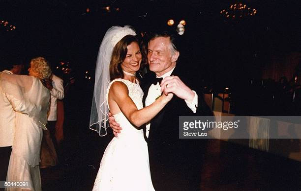 PLAYBOY mag publisher Hugh Hefner dancing w his daughter Christie the mag's CEO at her wedding to lawyer Bill Marovitz at the Four Seasons Hotel