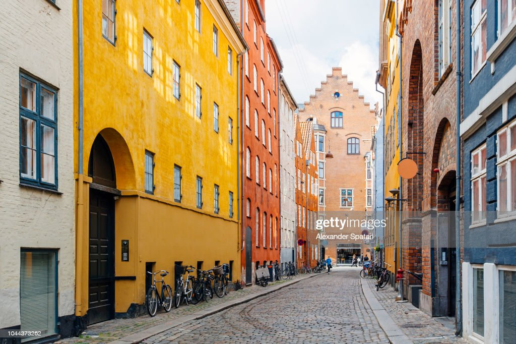 Magaestrade street with colorful houses and cobblestone in Copenhagen, Denmark : Stock Photo