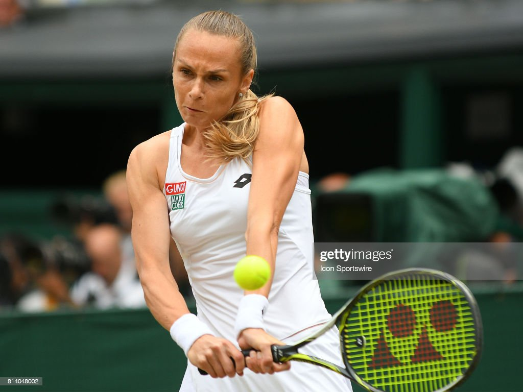 Magalena Rybarikova (SVK) in action during her semi-final match of the Wimbledon Championships on July 13, 2017, at All England Lawn Tennis and Croquet Club in London, England.