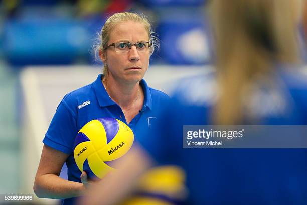 Magali Magail head coach of France during the CEV European League match at Salle Colette Besson on June 11 2016 in Rennes France