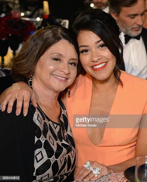 Magali Rodriguez and actress Gina Rodriguez attend the 21st Annual Critics' Choice Awards at Barker Hangar on January 17 2016 in Santa Monica...