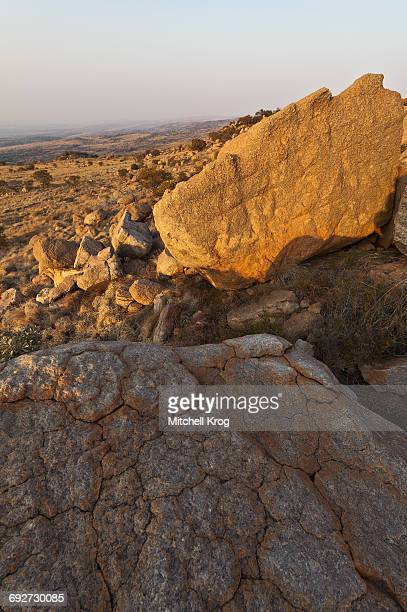 Magaliesberg Mountain Rock Formations at Sunset with a View over the Mountain Range, Magaliesberg Mountains, North West Province, South Africa