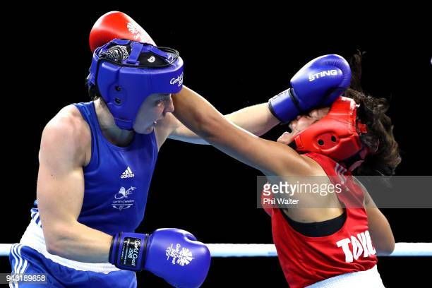 Magan Maka of Tonga and Rosie Eccles of Wales compete in the Womens Welter during Boxing on day four of the Gold Coast 2018 Commonwealth Games at...
