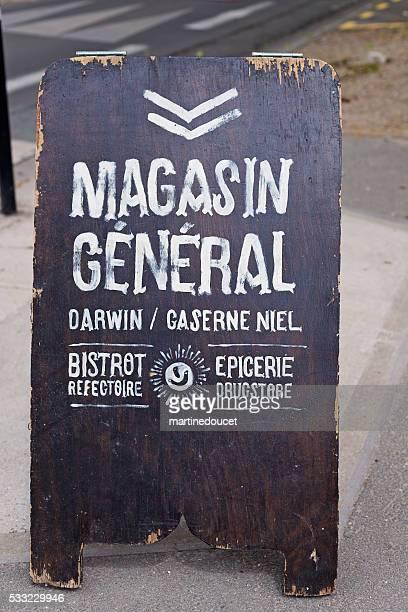 """ Magasin"" Allgemeine epicerie Plakat, Espace Darwin Bordeaux, Frankreich."