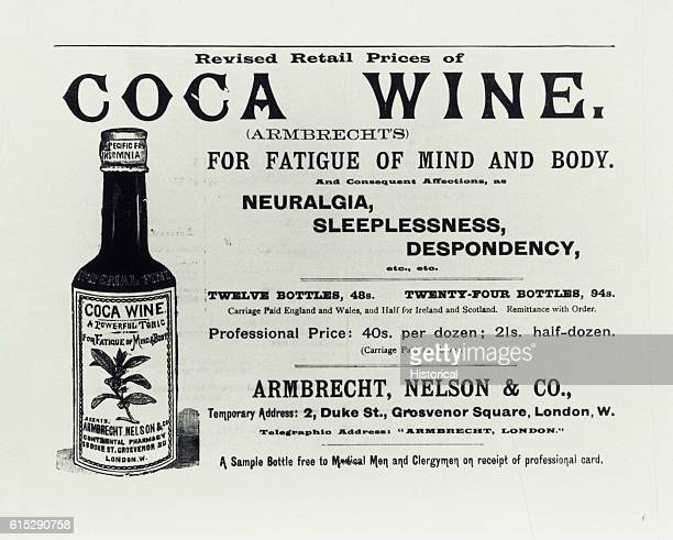 A magazine advertisement for Coca Wine to treat neuralgia sleeplessness and despondency