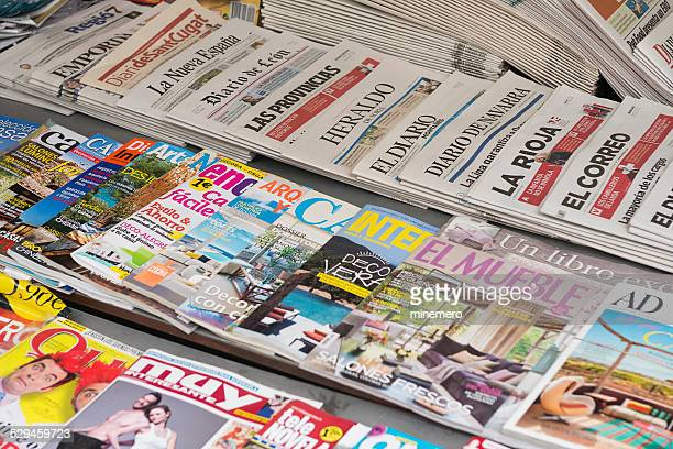 magazine and newspaper kiosk - spanish culture stock photos and pictures