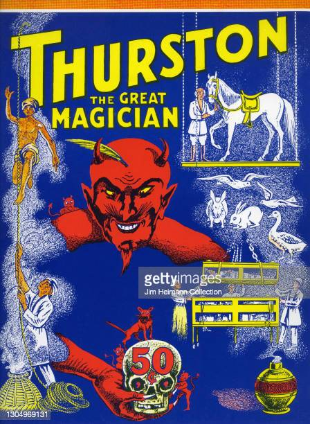 Magazine called Thurston: The Great Magician features an illustration of a red devil character surrounded by various icons of magic, including a...