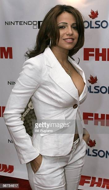 FHM magazine cover girl Vida Guerra of New Jersey poses for photographers on the red carpet at the FHM third annual Players Party on February 2 2006...