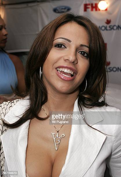 FHM magazine cover girl Vida Guerra of New Jersey speaks with the media on the red carpet at the FHM third annual Players Party on February 2 2006 at...