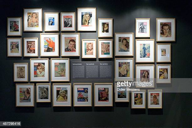 Magazine covers of actress Anita Ekberg who got a role in La Dolce Vita are shown as part of the Fellini Exhibition at Caermersklooster on October 15...