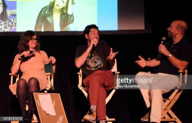 MAD Magazine editor Allie Goertz actor Ben Schwartz and host Paul Scheer speak onstage at Hanging Out With Paul Scheer Disney Edition during the...