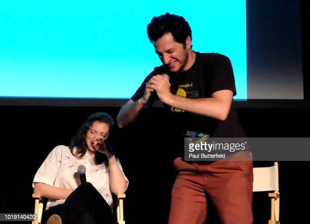 MAD Magazine editor Allie Goertz actors Rachel Bloom Ben Schwartz and host Paul Scheer speak onstage at Hanging Out With Paul Scheer Disney Edition...