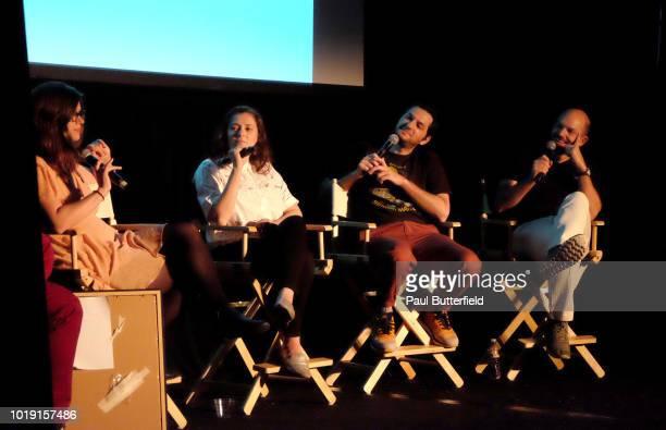 Magazine editor Allie Goertz actors Rachel Bloom Ben Schwartz and host Paul Scheer speak onstage at Hanging Out With Paul Scheer Disney Edition...