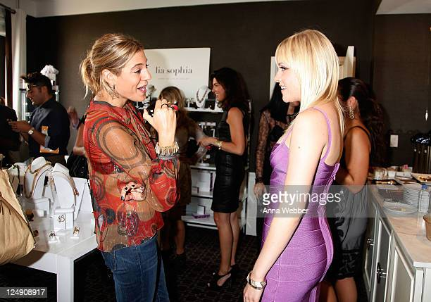 NYLON magazine editor Dani Stahl and singer Jessie Malakouti attend lia sophia celebrates Social Fashion and debuts boudika Red Carpet Collection at...