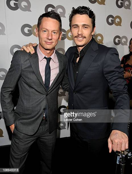 Magazine Editor in Chief Jim Nelson and actor James Franco arrive at the GQ 2010 Men of the Year held at Chateau Marmont on November 17 2010 in Los...
