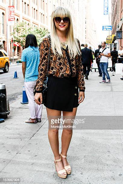 Magazine Editor Lauren Scruggs seen wearing a Zara ensemble of top skirt and shoes Urban Outfitters bag and Ray Ban sunglasses outside the Costello...