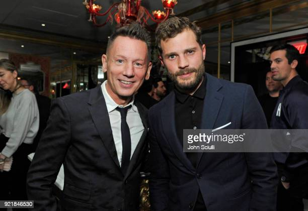 Magazine EditorInChief Jim Nelson and Jamie Dornan attend GQ and Oliver Peoples Celebrate Timothee Chalamet March Cover Dinner at Nomad Los Angeles...