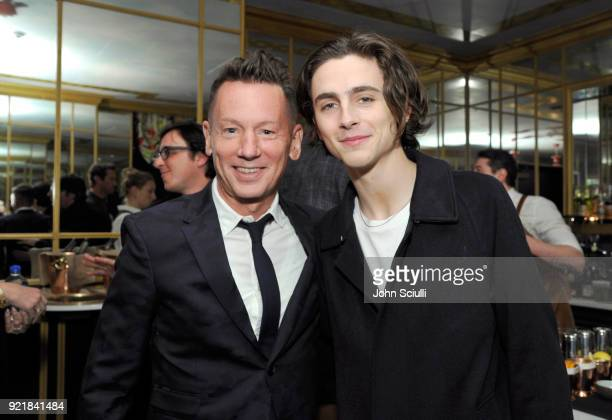 Magazine EditorInChief Jim Nelson and Timothee Chalamet attend GQ and Oliver Peoples Celebrate Timothee Chalamet March Cover Dinner at Nomad Los...