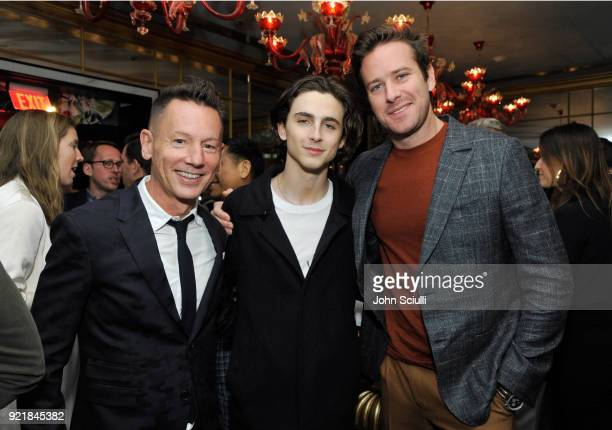 GQ Magazine EditorInChief Jim Nelson Timothee Chalamet and Armie Hammer attend GQ and Oliver Peoples Celebrate Timothee Chalamet March Cover Dinner...