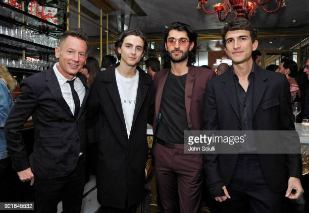 GQ Magazine EditorInChief Jim Nelson Timothee Chalamet Oliver Peoples CEO Rocco Basilico and Oliver Peoples Creative Director Giampiero Tagliaferri...