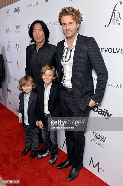 Magazine EditorInChief Stephen Gan Model Brad Kroenig Jameson Kroenig and Hudson Kroenig attend The Daily Front Row Fashion Los Angeles Awards 2016...