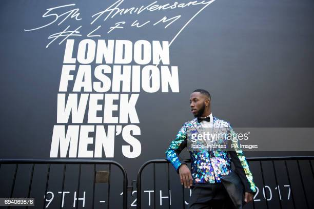 Magazine Gents editor in chief Paris Warren from New York poses for pictures outside the BFC Show Space during London Men's Fashion Week...