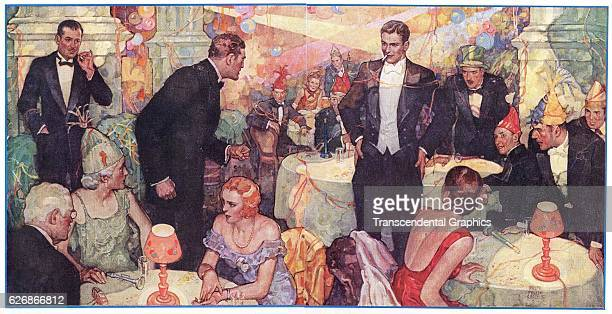 Magazine illustration of a Roaring 1920s party New York New York 1926