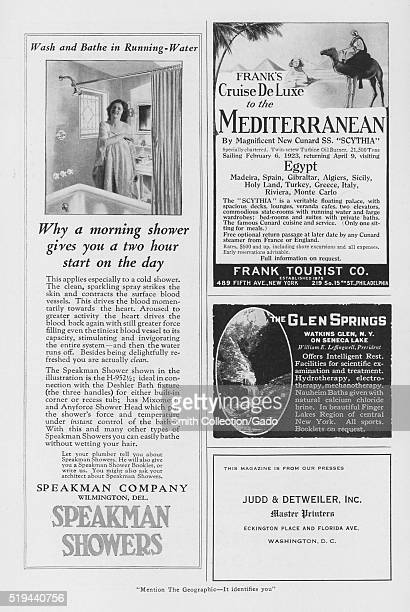 A magazine layout featuring four advertisements the half page ad features products from Speakman Showers the other ads are for a Mediterranean cruise...