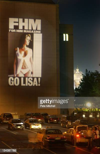 Magazine projects images of MNF sports reporter Lisa Guerrero on to side of Capitol and National Archives as they appear in the upcoming Oct. Issue...
